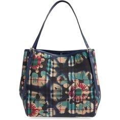 Women's Burberry 'Small Canterbury' Nylon Tote (7.660 HRK) ❤ liked on Polyvore featuring bags, handbags, tote bags, floral handbags, striped totes, floral tote bag, white tote and tote handbags