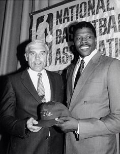 Patrick Ewing New York Knicks NBA Draft #NBA #Draft. With the late, great Dave DeBusschere.