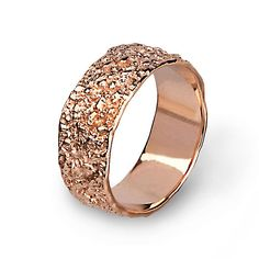 Antico 14k Rose Gold Wedding Band Ring Textured Unique Bands