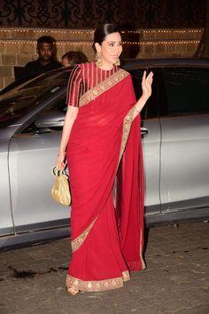 Karisma Kapoor in Red Sabyasachi Saree at Anil Kapoor's Diwali Bash DSC 3754 Source by Blouses Blouse Designs High Neck, Silk Saree Blouse Designs, Fancy Blouse Designs, Saree Blouse Patterns, Blouse For Silk Saree, Sari Dress, Red Saree, Silk Sarees, Dress Patterns