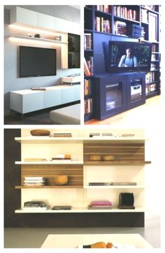 Backwards Billy TV Mount in Built-Ins (with Clock) - Best ideas