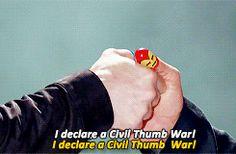 RDJ and Chris Evans thumb wrestle to settle Civil War. xD