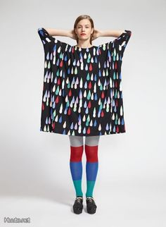 Marimekko Black/Multi Drop Dress When you're searching for something fun and unique to wear, just remember to stop, drop and roll. The Marimekko Black/Multi Drop Dress is an oversized tunic with an optional belt; just throw it on over. Marimekko Dress, Ethical Clothing, Sustainable Clothing, Comfortable Outfits, Diy Clothes, Fashion Clothes, Textile Design, Textiles, Vogue