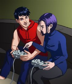 Robin teaching Raven how to play video games (from Teen Titans animated version). I don't ship RobRae at all, but this is cute! I see them more as brother/sister than a couple.