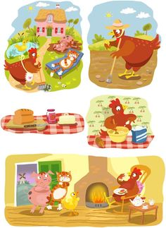 Vector illustrations telling the story of Little Red Hen: Emily Skinner