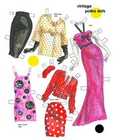 Recent vintage styles with dots of all sizes.  Page 5 of 8 Page book. Available for purchase at paperdollreview.com