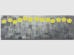 Original abstract oil painting pale yellow flower by QiQiGallery