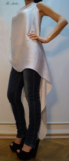 Loose Tunic/Asymmetrical White Tunic/Summer by FloAtelier on Etsy
