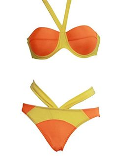 Topshow Women's Sexy Colorblock Halter Beach bra 2 Equipment Bikini Set $28.05(On sale from $32.26)