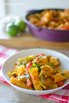 ~ fajita chicken pasta ~ low fat recipe ~ lots of red and green peppers ~ will use whole grain pasta ~ make ahead for fire dept. ~
