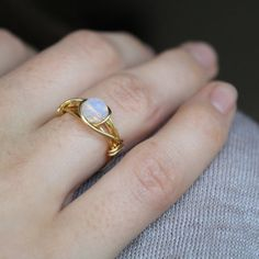 Gold Opal Ring ( Opalite Moonstone Ring, Opalite ring, Wire Wrapped Ring, iridescent ring, Blue Ring, pale blue jewellery )