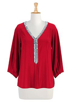 I <3 this Crystal studded crepe tunic plus size top from eShakti -- I love the other colors too!