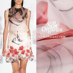 "53"" SILK Organza printed with Abstract Painting. Pink Sheer Fabric. Pure Silk. Wedding Dress Fabric. 6mumi"