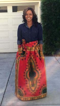 Red Dasiki African Print Maxi skirt with pockets paired with a dark denim button up top.