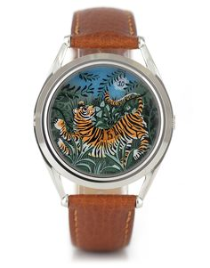 This watch is available in either silver or black, choose your favourite version in the dropdown box above. Track the time like a tiger with this miniature jungle scene. This unique watch encourages you to have fun with your time. Jungle Scene, Stainless Steel Polish, Vintage Watches For Men, Tiger Stripes, Telling Time, Real Leather, Lady, Happiness, Stuff To Buy