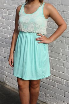 Summer In Lace Tank Dress- Mint