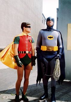 Adam West and Burt Ward as Batman and Robin, ca. 1960's
