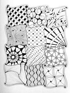zentangle easy patterns doodle square mandala drawing sample zen