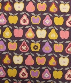 Coupon - Apple and pear - pear aubergine Cross Stitch Games, Vegetable Prints, Food Patterns, Rico Design, Textiles, Apple Pear, Cushion Fabric, Fabulous Fabrics, Couture