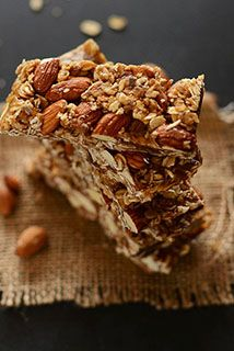 Leah shared some of these with us and they were DELICIOUS!! Chocolate Chip Almond Butter Granola Bars