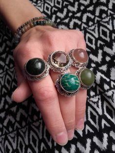 Gemstone Rings, Polish, Gemstones, Vintage, Jewelry, Fimo, Vitreous Enamel, Jewlery, Bijoux