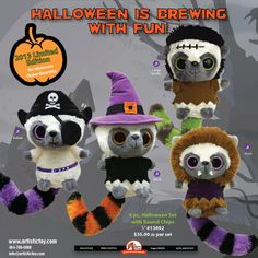 Halloween Plush Toys.  2013 Limited Edition Yoohoo Pirate, Witch, Werewolf, and Frankenstein.