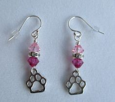 Paw print earrings, pet lovers earrings, dog earrings, pet loss earrings, pet earrings, pet jewelry, pet memorial earrings, pet lovers gift by Serenebaysidejewelry on Etsy