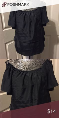 Black Ruffle Off The Shoulder Top Black Ruffle Off The Shoulder Top in excellent condition! From Marshall's! Size-S. #offtheshoulder #black #ruffle Marshalls Tops Blouses