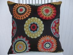 Crewel Embroidery Pillow Cover 18x18 or by CodyandCooperDesigns