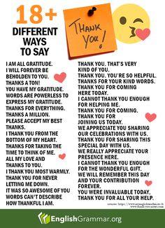 English Grammar – More than 20 ways to say thank you! English Writing Skills, Learn English Grammar, English Vocabulary Words, Learn English Words, English Phrases, English Idioms, English Language Learning, English Study, English Lessons