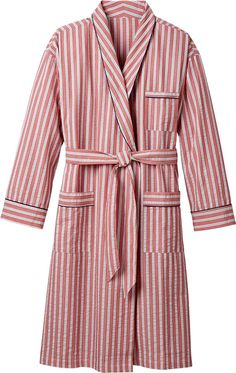 Men's Seersucker Bathrobe: This all-season robe is offered in three handsome stripes—brick red with blue and white stripes, navy with green and white stripes, and natural with navy and white stripes—a nice change from the traditional blue and white.