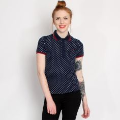 Fred Perry Womens Navy Spot Tipped Polo Shirt