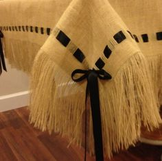Burlap Tablecloth with Fringe and Ribbon by HouseofBurlap on Etsy, $112.00