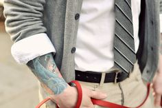 shirt, tie, cardigan and tattoos