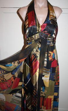 ROBBIE BEE Overlay Flowy Halter DRESS Women's Abstract Design Sz 12 #RobbieBee #HalterMaxi #Clubwear
