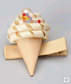 Vanilla Ice Cream Cone Clip by Sweet Treat Bows Ribbon Art, Diy Ribbon, Ribbon Crafts, Ribbon Bows, Ribbon Flower, Grosgrain Ribbon, Diy Crafts, Hair Ribbons, Diy Hair Bows
