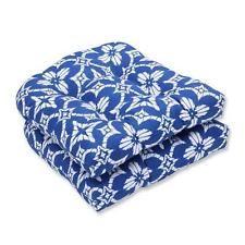 Indoor-Outdoor Aspidoras Cobalt Wicker Seat Cushion, Blue Set of 2