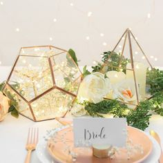 Metal & Glass Copper Pentagonal Terrarium, 20cm
