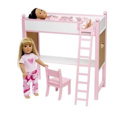 "Loft Bed & Desk Set Fits American Girl Dolls - 18"" Inch Doll Furniture by Wish Doll Company, http://www.amazon.com/dp/B005R2DT7W/ref=cm_sw_r_pi_dp_4Dy7qb1W738KR"
