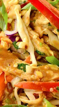 Thai Crunch Salad with Thai Peanut Dressing