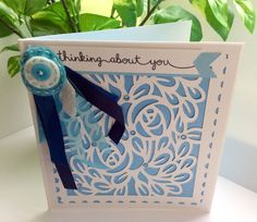 Blue thinking about you card. In our thoughts. Sympathy. Condolences. I our prayers. by evescrafts on Etsy
