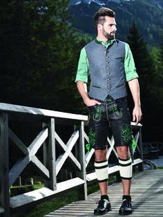 """Glattlederhose mit grüner Bestickung passender Weste """"Frederic"""" #Angermaier"""