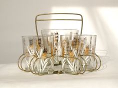 Glasses with Caddy and Ice Bucket. $68.00, via Etsy.