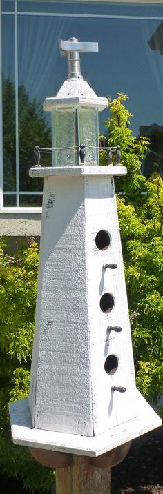 RUSTIC Utah Item # 24: Large hexagonal lighthouse birdhouse, white