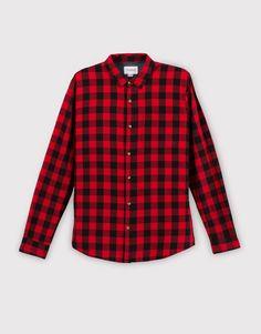 Pull&Bear - hombre - ropa - camisas - camisa cuadro damero basica - rojo - 09470503-I2016