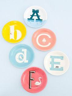 Alphabet paper plates