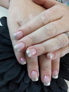 silver glitter french tips on acrylic nails
