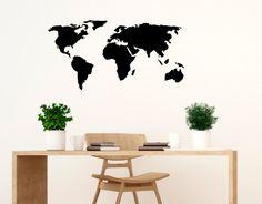 Wandtattoo  Weltkarte schwarz Wandsticker Wanddeko Wandbild