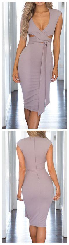 V Neck Bandage Solid Color Bodycon Dress