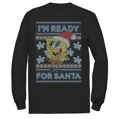 Men's Nickelodeon SpongeBob SquarePants I'm Ready For Christmas Ugly Christmas Long Sleeve Graphic Tee, Size: 3XL, Black